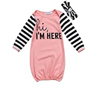 HappyMa Toddler Infant Baby Girls Sleepwear 'hi,I'M HERE' Striped Sleep Bag Pajamas Gowns With Headband (Pink)