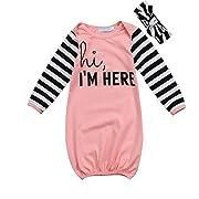 HappyMa Toddler Infant Baby Girls Sleepwear 'hi,I'M HERE' Striped Sleep Bag Pajamas Gowns With Headband (Pink)