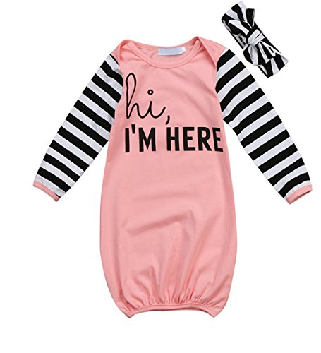 HappyMa 2PCS Newborn Baby Girls Boys Long Sleeve Letters Print Sleep Bag Striped Gowns Sleepwear (Pink) (Pink Striped Letter)