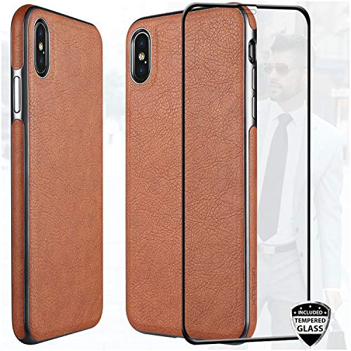 DICHEER iPhone Xs Max Case with Glass Screen Protector, Luxury Matte Brown Leather Case for Men,Dual Layer Hybrid Defender Soft TPU Bumper Best Protective Cover Classy Phone Case for iPhone Xs Max