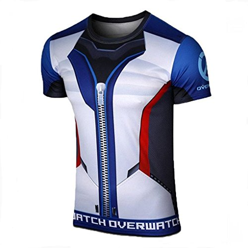 AestheticCosplay Overwatch Soldier 76 T-Shirt | Soldier 76 3D Inspired Design | Soldier 76 Muscle Shirt Compression Tshirt (XL) (Body Armor Suits Ninja)