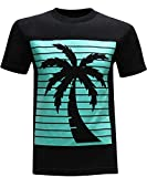 tees geek California Republic Turquoise Palm Men's T-Shirt- (Medium) - Black