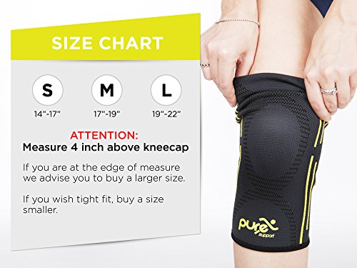 aaa0b8c187 PURE SUPPORT Knee Brace Sleeve with Best Patella Compression for Meniscus  Tear & Arthritis – Ideal for Running, Sports and Daily Activities for Women,  Men ...