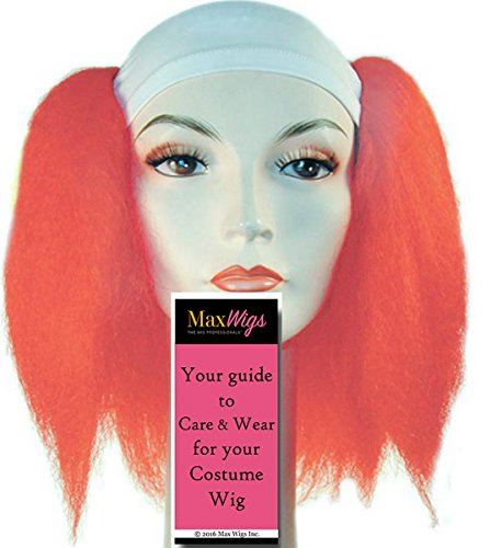 y Color Red - Lacey Wigs Clown Adult Synthetic White Cloth Stretch Front Full Hair Bundle with MaxWigs Costume Wig Care Guide (Deluxe Clown Wig)