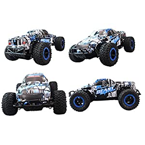 Fistone RC Car 2.4G High Speed Racing Cars 15km/h 1:16 Beast Radio Control Monster Truck Rock Off-Road Vehicle Buggy Hobby Electronic Game Toys Model (Blue)