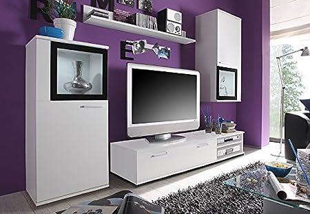 +Glas Schrankwand Anbauwand Wohnzimmer Weiß: Amazon.de: Küche U0026 Haushalt