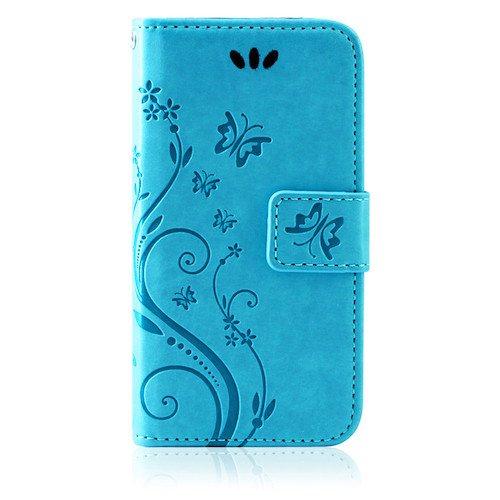 betterfon | Flower Cover Handytasche Schutz Hülle Blume Case Buch Klapptasche Handyhülle Handy Schale für Apple iPhone 6 / 6s Blau