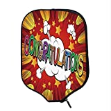 YOLIYANA Graduation Decor Durable Racket Cover,Colorful Congratulations Greeting Comic Book Style Explosion Blast Effect Decorative for Sandbeach,One Size