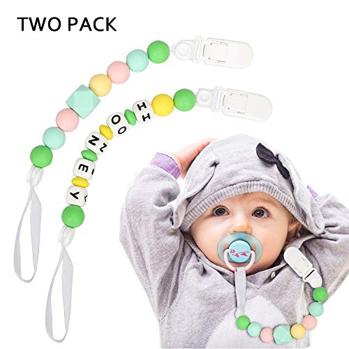 Pacifier Clips for Baby (2 Pack), HEISIEM 100% BPA Free Silicone Beads Pacifier Holder Teether Toys Mam Pacifier Clip for Boy Girl