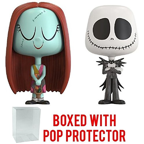 Funko Vynl: The Nightmare Before Christmas - Jack Skellington and Sally Vinyl Figure 2-Pack (Bundled with Pop BOX PROTECTOR CASE)