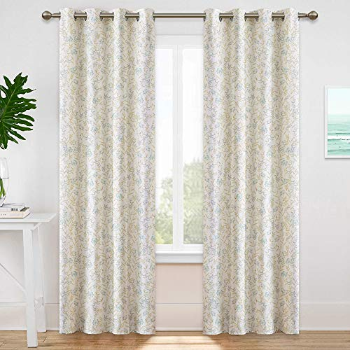 KGORGE Floral and Leaf Pattern in Grayish White & Turquoise, Natural Light Block Room Darkening Curtains for Sliding Glass Door/Farmhouse/Living Room, 2 Pcs, W 52 x L 95 (Pale Yellow Background)