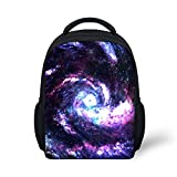 Hoijay Preschool Backpack, Little Kid Backpacks for Boys and Girls Purple Galaxy Stars Vortex