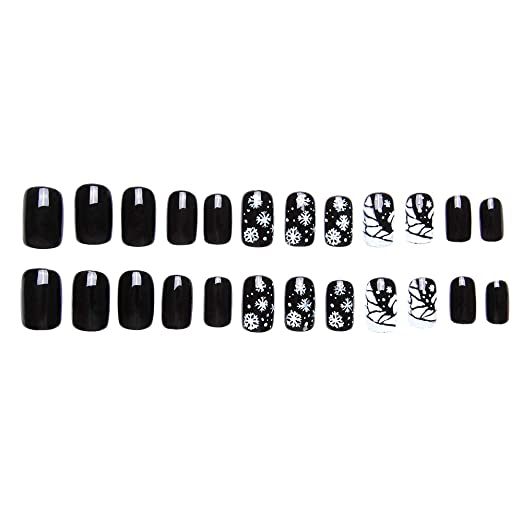 Amazon.com : 24 Pcs of 12 Different Sizes Handmade Navidad Tranquila Finger Fake Nail for Christmas : Beauty