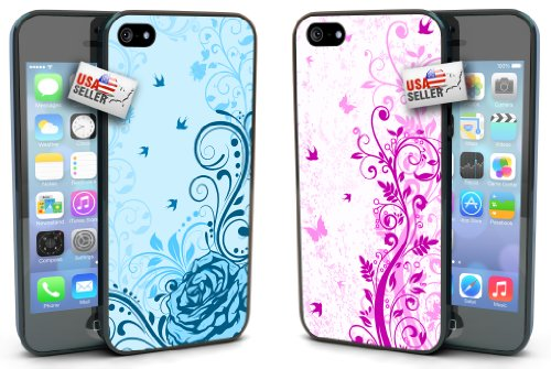 Blue Rose Purple Flowers Butterfly COMBO TWO PACK for iPhone 4 or 4s