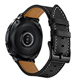 Aottom [20MM] Samsung Gear S2 Classic Band Leather Replacement Band Wrist Bands Metal Buckle Bracelet Wristband for Samsung Gear Sport / S2 Classic/Moto 360 2nd Gen (Mens 42mm 2015 Version), Black