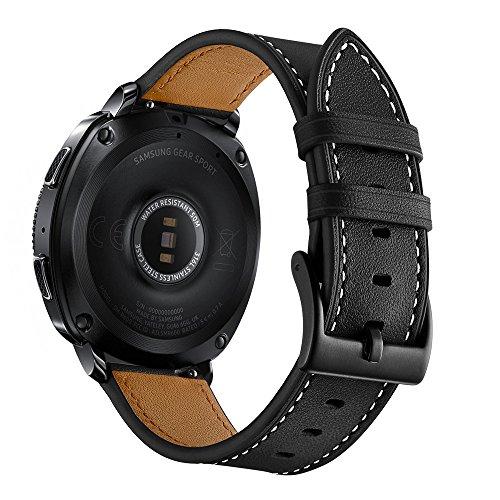 Aottom سازگار برای بند سامسونگ Galaxy Watch 42mm Band Leather 20MM بند باند هوشمند تعویض ساعت مچی دستبند فلزی برای Samsung Galaxy Watch Active 40mm / Galaxy Watch 42mm / Gear Sport، Black