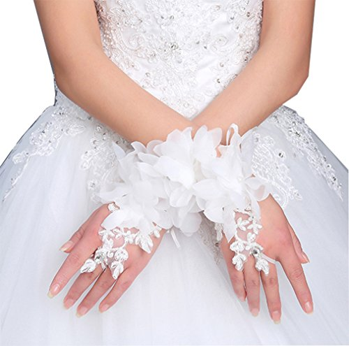 Gauss Kevin Women Short White Flower Lace Gloves Fingerless Gloves Prom Party Wedding