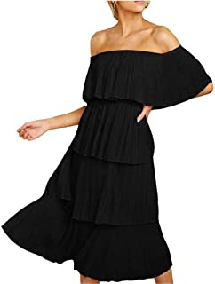 abfa1c1af5 FANEW Women's Off The Shoulder Sleeveless Tiered Ruffle Pleated Casual Midi  Dress