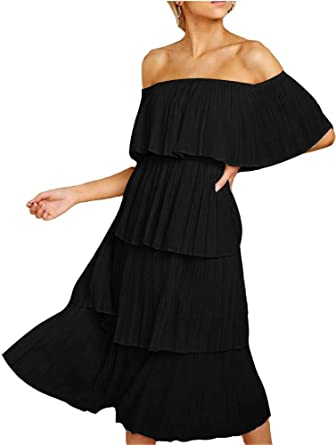 a868568d0 FANEW Women's Tiered Skirt Off Shoulder Sleeveless Ruffles Pleated Midi  Dress Black