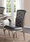 Poundex PDEX-F1540 Liboria 2 Antique Silver Rubber Wood Dining Chairs For Sale