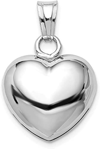 Sterling Silver Rhodium-plated Brushed Puffed Heart Pendant