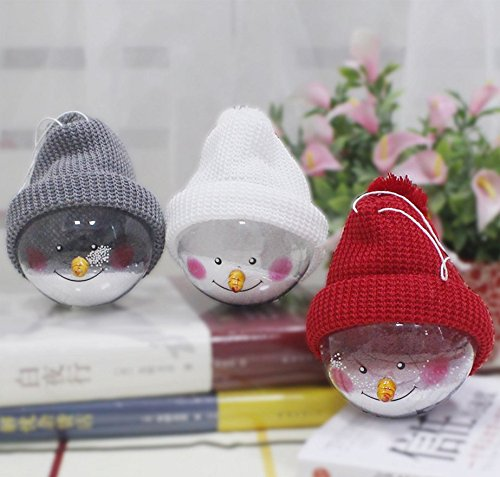 Snowglobe Ornament - Christmas Snow Globes, 3 Colors Christmas Gift Home Decor Artificial Snowballs Ornaments Dome Snow Globe with Funny Hats