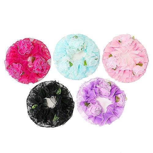 Timoo 5 PCS Hair Bun Cover for Women Ballet Bun Hair Nets for Dancers, Flower Design, Rose-Red/Blue/Pink/Black/Purple