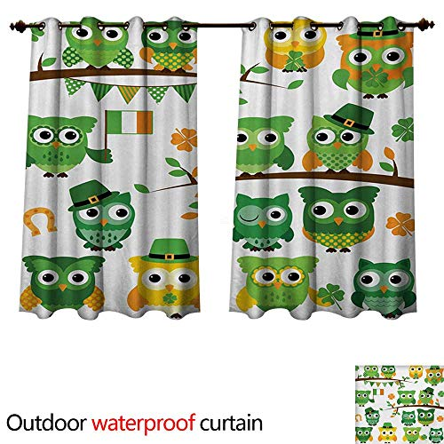 WilliamsDecor St. Patricks Day 0utdoor Curtains for Patio Waterproof Irish Owls with Leprechaun Hats on Trees Shamrock Leaves Horseshoe W63 x L72(160cm x 183cm)