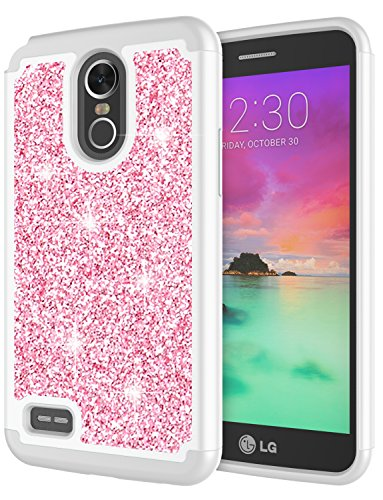 LG Stylo 3 Case, LG Stylo 3 Plus Case for Girls, Jeylly Glitter Luxury Crystal Dual Layer Shockproof Hard PC Soft TPU Inner Protector Case Cover for LG Stylo 3/Stylo 3 Plus 2017 - Pink (Pink Straight Talk Phones)