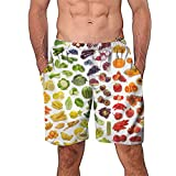 NUWFOR Men Casual 3D Graffiti Printed Beach Work Casual Men Short Trouser Shorts Pants(Multicolor,US:M Waist29.1-33.1'')