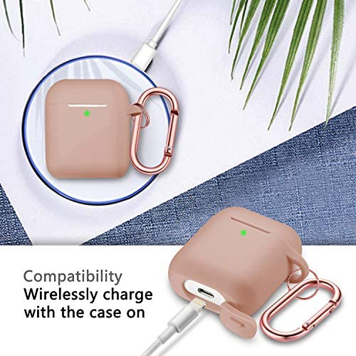 Airpods Case Cover, Full Protective Airpods Case Cover Silicone Airpods Case Keychain for Girls and Women, Soft Chargeable Headphone Case with Rose Gold Carabiner for AirPods 2 and 1, Milk Tea 51vOl2AMS5L