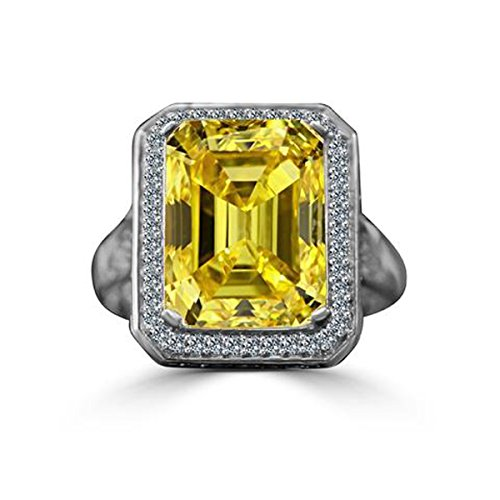 Diamond Veneer 12 CT. Emerald Cut Important Vintage Micro Pave Halo Vintage Cocktail Engagement Ring (Canary, (Canary Cocktail Ring)