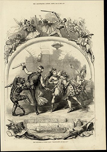 Pantomimes Costumes (Pantomime Drury Lane Theater Dancing Costume 1876 great old print for display)