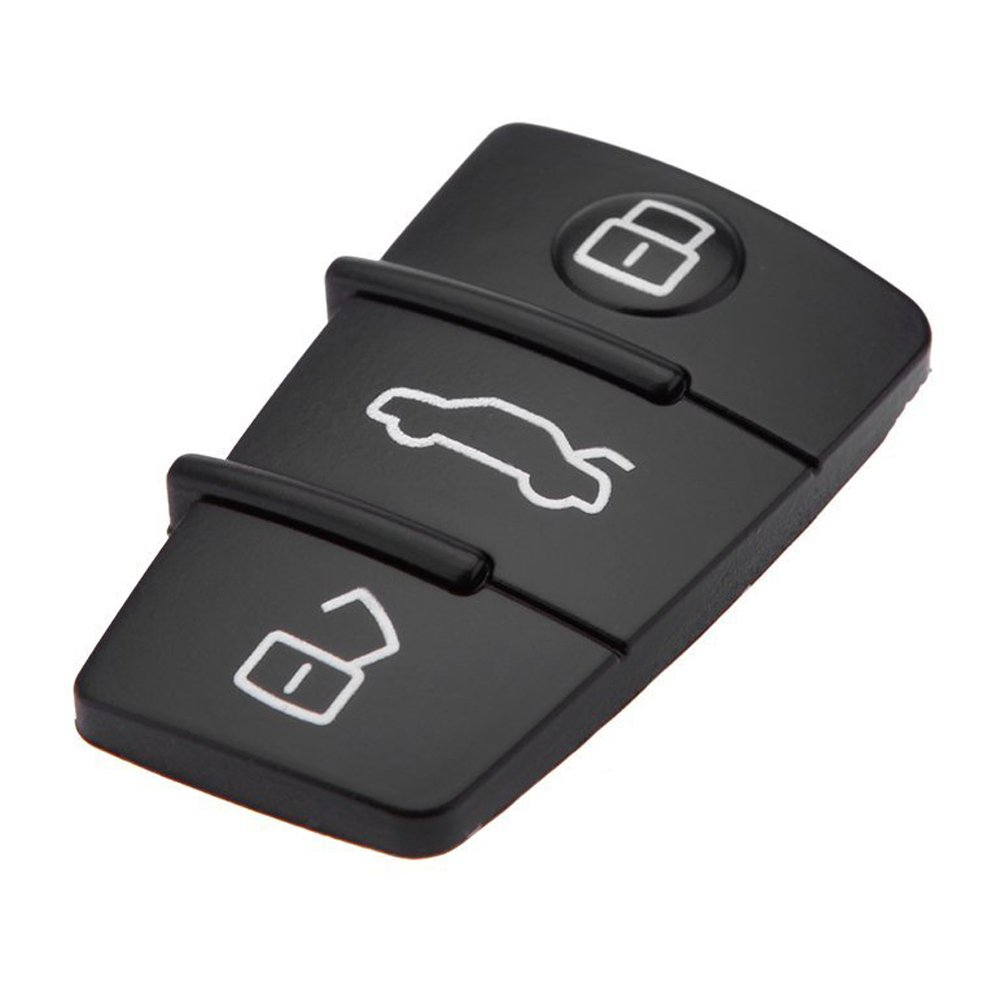 SODIAL R New Replacement 3 Button Keyless Entry Remote Rubber Pad for Audi Remote Car Key Fob Case black