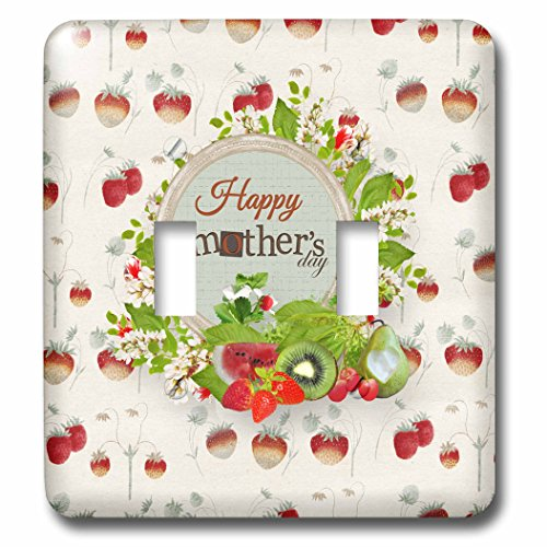 - 3dRose Beverly Turner Mothers Day Design - Happy Mothers Day, Strawberries, Watermelon, Kiwi, Strawberry Design - Light Switch Covers - double toggle switch (lsp_280559_2)