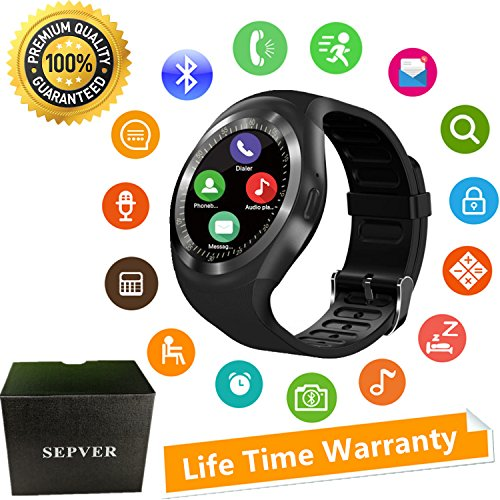 SEPVER Smart Watch Round Bluetooth Smartwatch Unlocked Watch Cell Phone with SIM Card Slot for Samsung LG Sony HTC HUAWEI Google Xiaomi Android Smart Phones and ios iPhone Men Women Kids (Black)