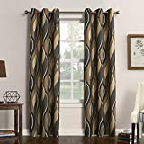 No. 918 Intersect Wave Print Casual Textured Curtain Panel, 48' x 63', Charcoal Gray