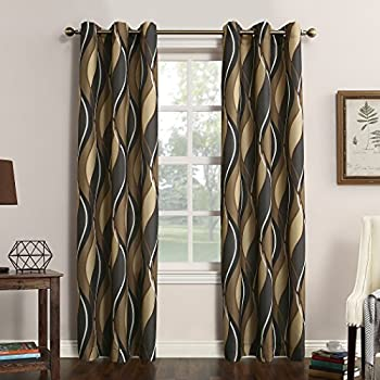 No. 918 Intersect Wave Print Casual Textured Curtain Panel, 48