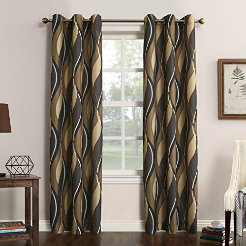 (No. 918 Intersect Wave Print Casual Textured Curtain Panel, 48