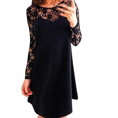 8d7d865194c Fashion Women Long Sleeve Hollow Out Lace Tunic Dress Patchwork Evening  Party Dress Tank Tops Plus