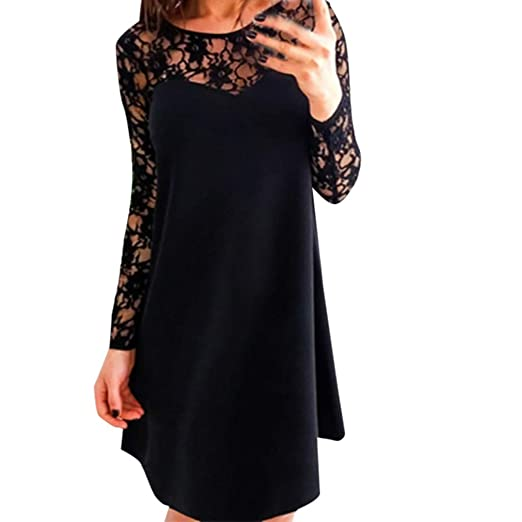 f0f10cc8f079 2019 New Women Sexy Black Elegant Holiday Party Dress Full Loose ...