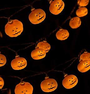 Carelec Halloween String Lights, LED Pumpkin Lights with 2 Modes Steady on/Flash for Halloween Indoor Outdoor Decorations (20 LED Lights, 9.8 FT String)