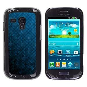Be Good Phone Accessory // Dura Cáscara cubierta Protectora Caso Carcasa Funda de Protección para Samsung Galaxy S3 MINI NOT REGULAR! I8190 I8190N // Texture Blue Cubes
