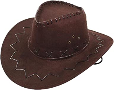 Faux Suede Wide Brim Western Cowboy Hat Vintage Outback Cattleman Hat with Belt