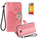Funyye Pink Strap Cover for Samsung Galaxy S8 Plus,Cute 3D Diamond Owl Pattern Design Magnetic Flip Wallet Detachable Glitter Case with Stand Card Holder Slots Cover for Samsung Galaxy S8 Plus,Anti Scratch Full Body Protective Soft Silicone PU Leather Case for Samsung Galaxy S8 Plus + 1 x Free Screen Protector