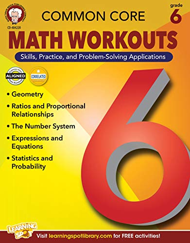 Mark Twain Common Core Math Workouts Resource Book, Grade 6, Ages 11 - 12, 64 Pages (Beginning And Intermediate Algebra 6th Edition Answer Key)