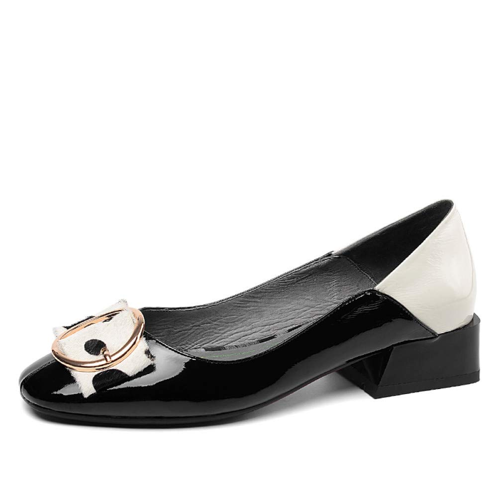 PINGXIANNV Leder Pumps Frauen Square Toe Schuhe Flache Schuhe Weibliche Starke Fersen Polka Dot Schuhe Frau Frühling B07PSB73H4 Tanzschuhe Einfach zu bedienen