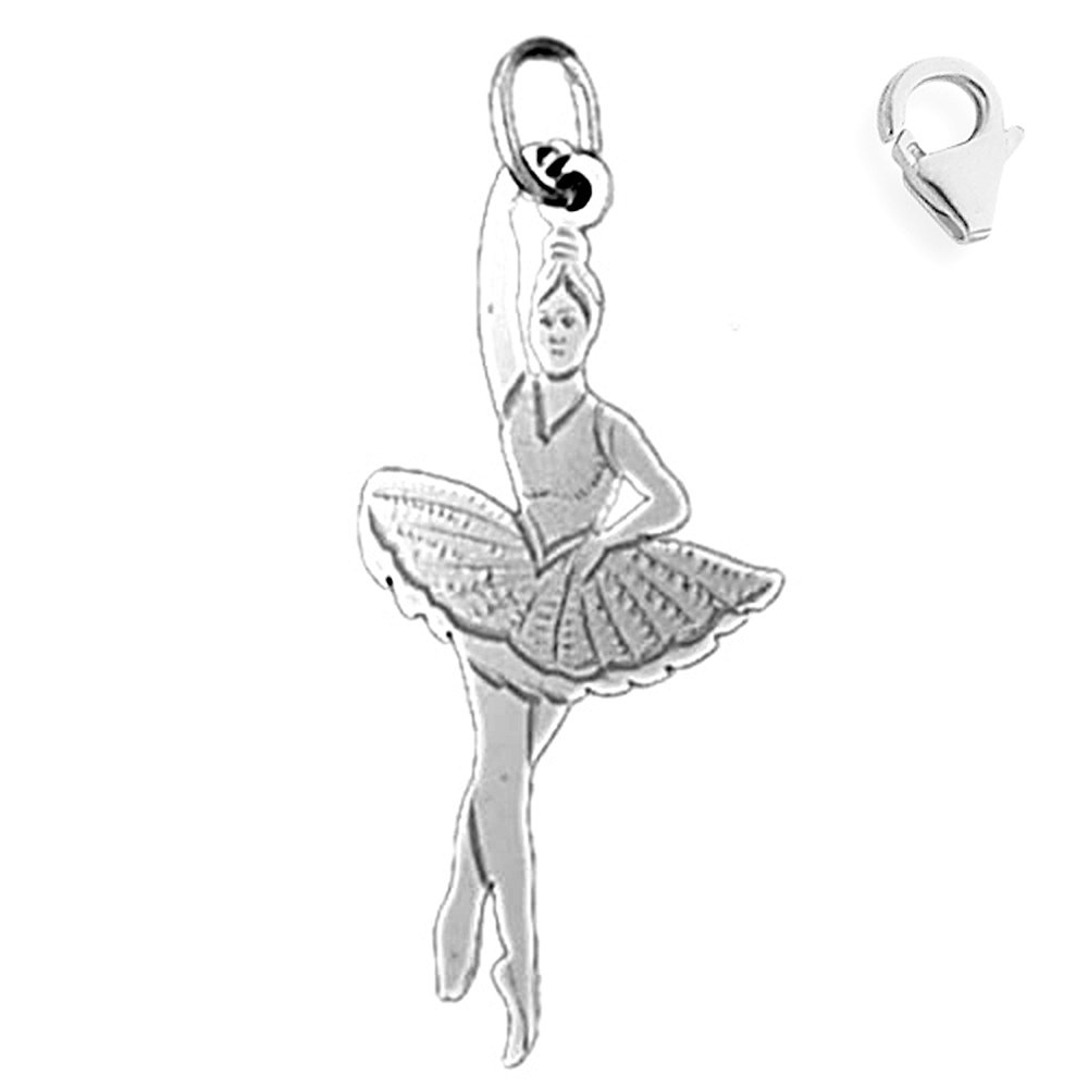 Sterling Silver 32mm Ballerina with 7.5 Charm Bracelet Jewels Obsession Ballerina Pendant