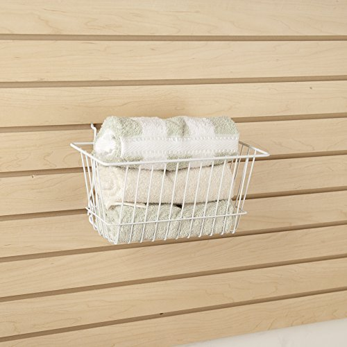 Econoco - White Multi-Fit Narrow Wire Basket for Slatwall, Pegboard or Gridwall (Set of 6) Metal Semi-Gloss Basket, White by Econoco (Image #2)