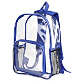 RTWAY Clear Backpack See Through Student Bookbag Heavy Duty Clear Bags for School Stadium and Sporting Events